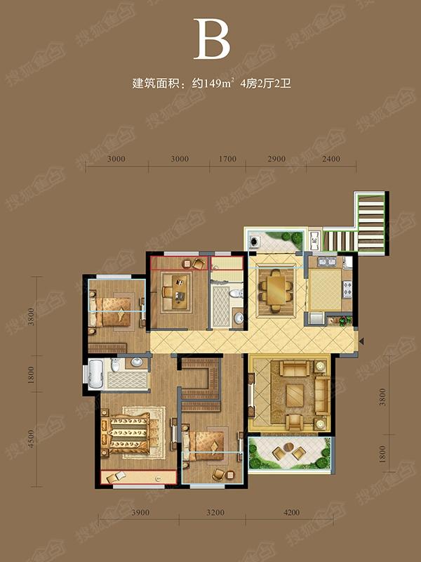 复地金融岛-4室2厅2卫-149.00平米