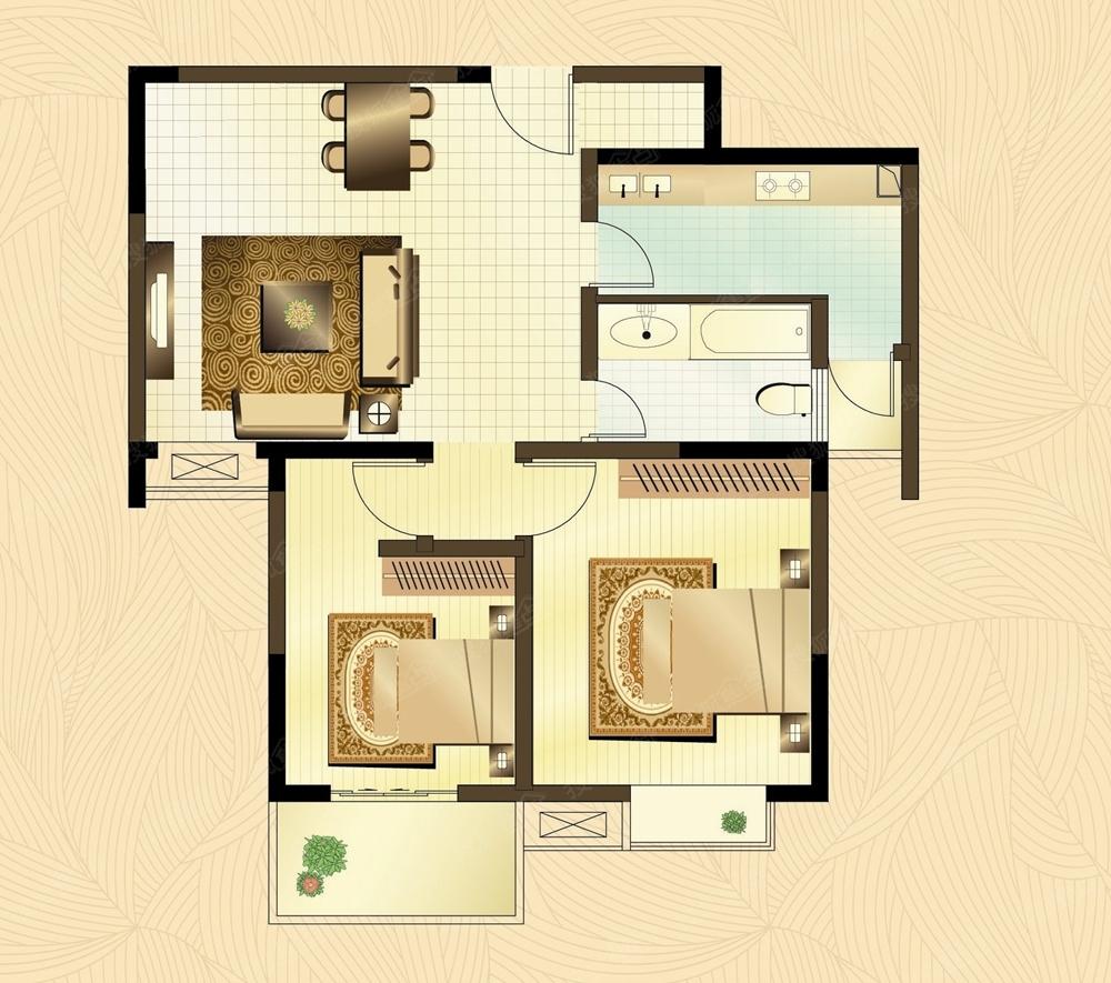 南浦佳园两室两厅一卫户型