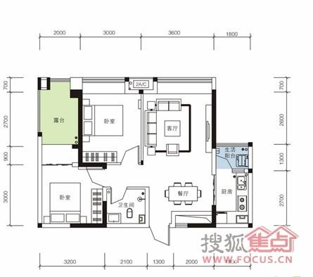 东域龙湾一期一号楼二十六层a2户型户型-2室2厅1卫-68m