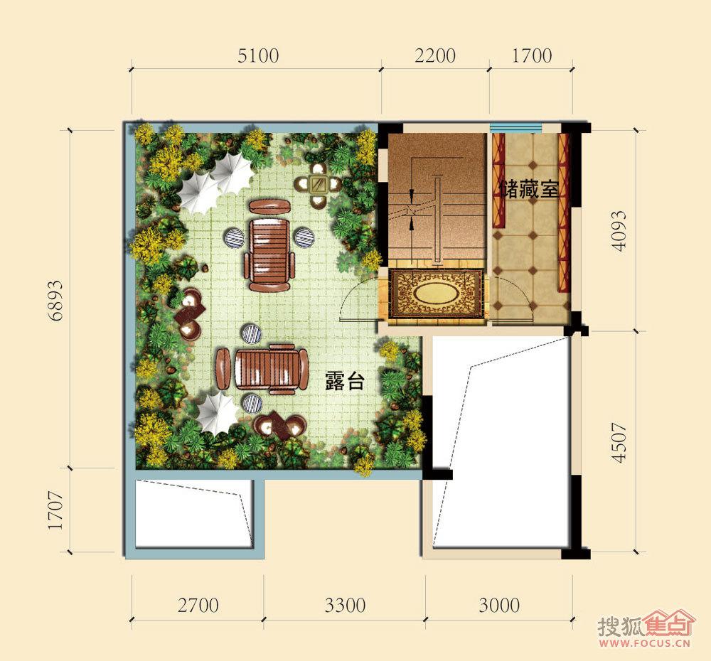 c-9疊拼別墅五層平面圖戶型