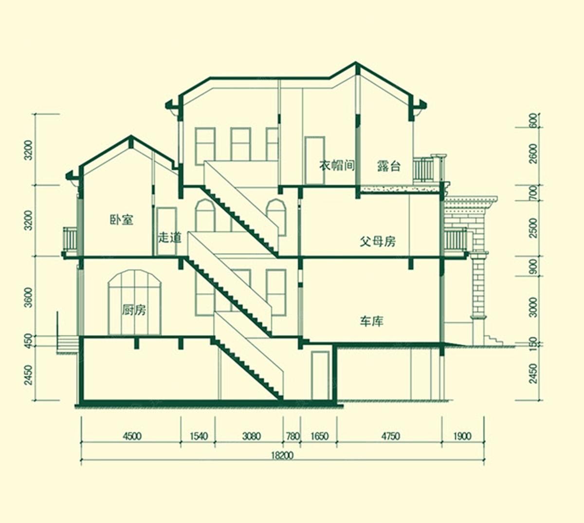 独栋别墅b2花园图-独栋宁馨b2剖面图虎门别墅户型别墅区图片