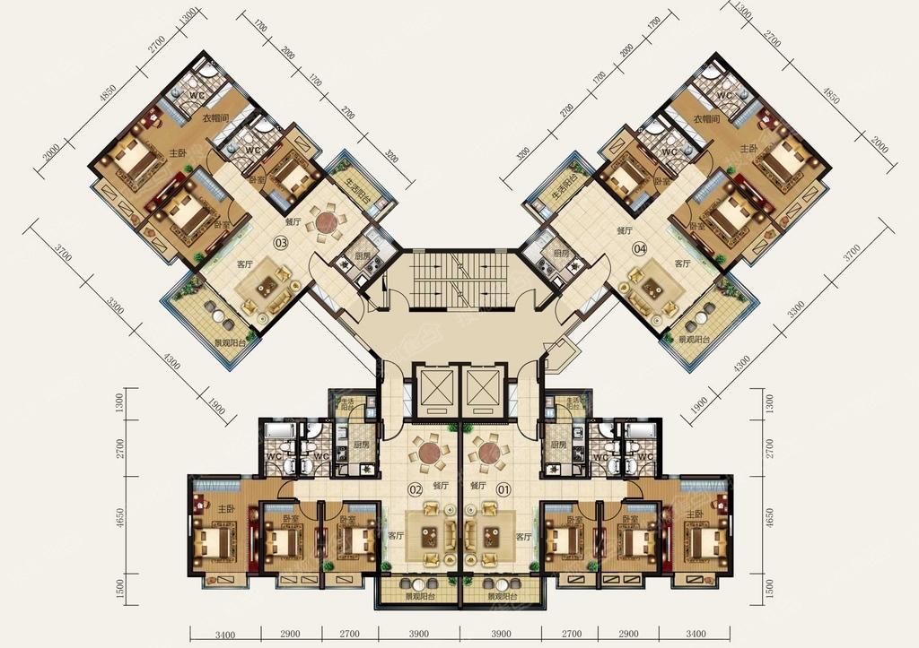 虎门碧桂园y165-4户型楼层平面图