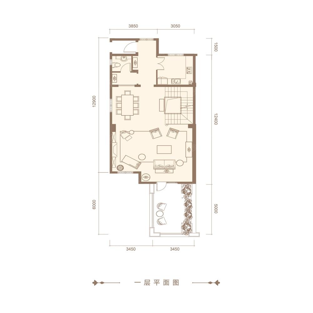 三期220平联排别墅一层平面图户型