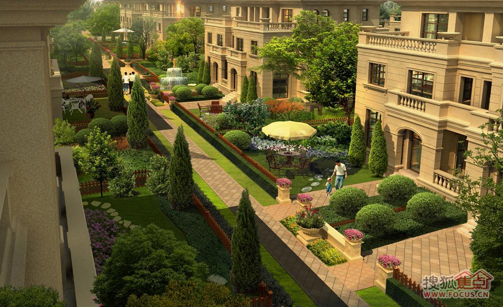 别墅庭院鸟瞰图