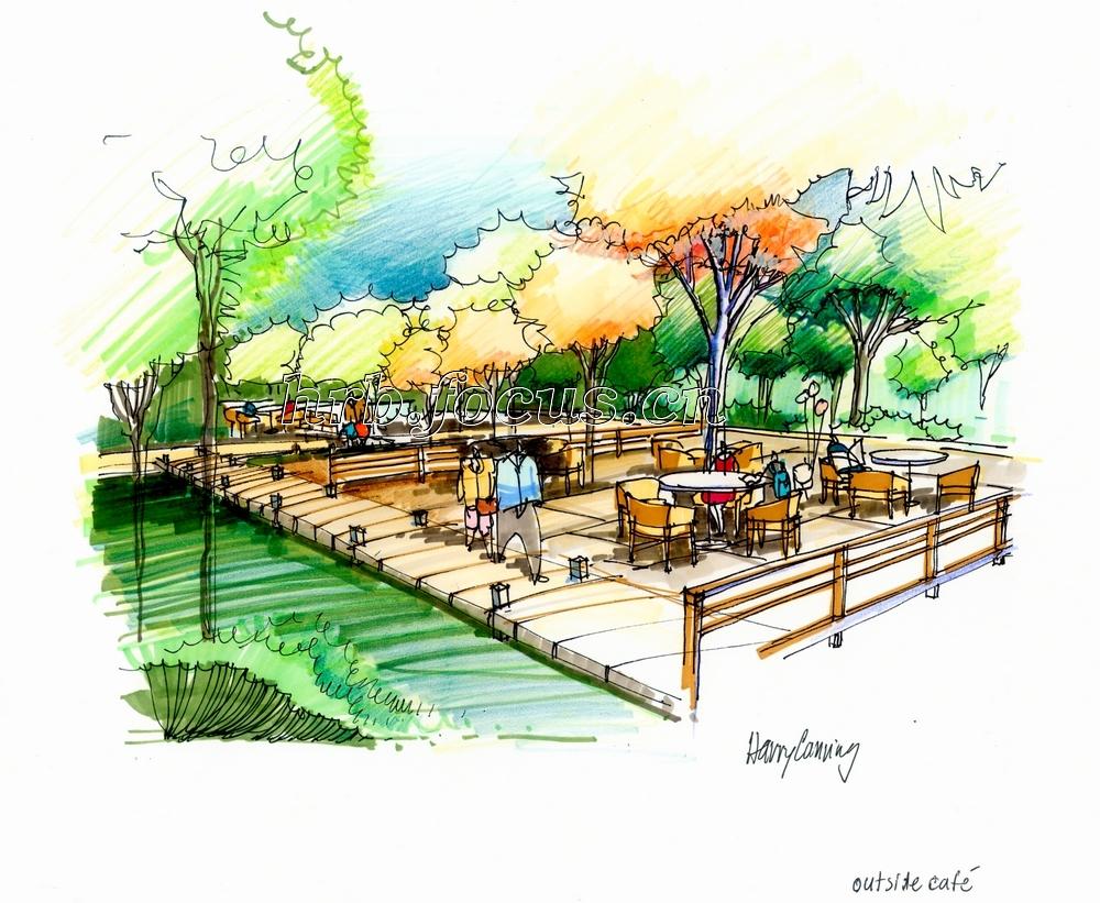 柏悦星城景观木栈道手绘图