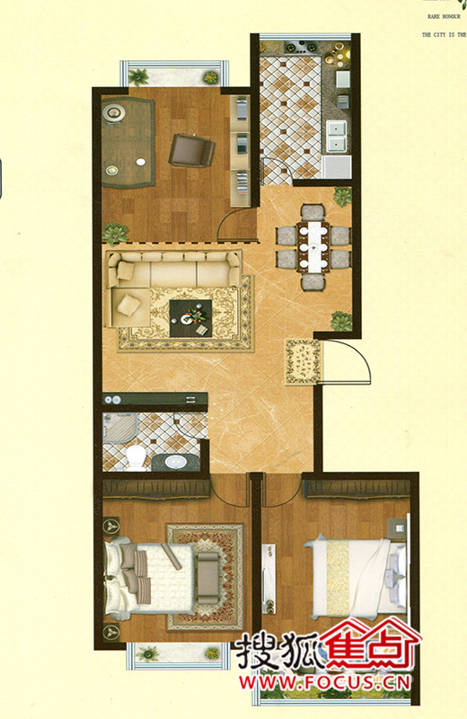 颐和华府三居室颐和华府户型图三室两厅一卫_颐和华府