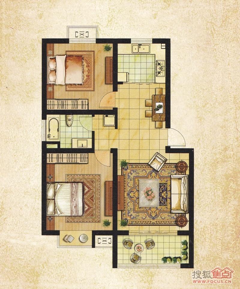 农村四室两厅一厨一卫带楼梯间一层平方平面设计图  三室两厅一卫楼房
