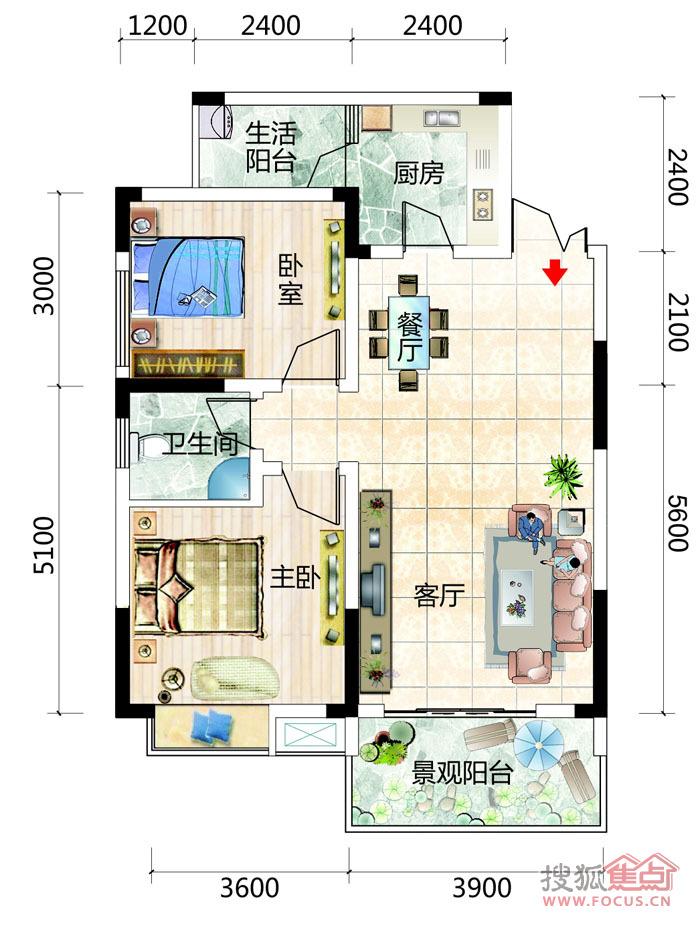 g两室两厅单卫户型