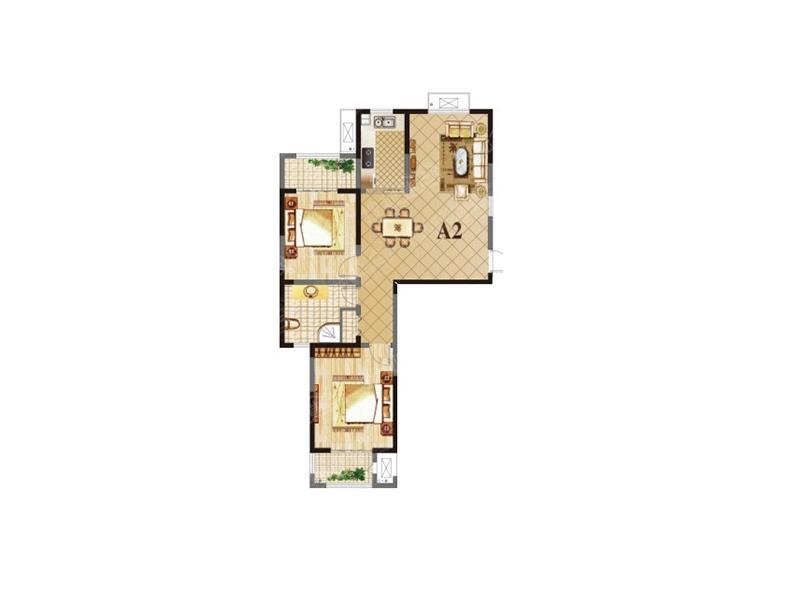 荣盛龙湖半岛二居室16街区a2_荣盛龙湖半岛户型图