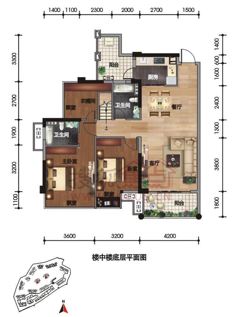 95㎡建面)9,10栋03号房楼中楼下层平面图户型(139.95㎡建面)