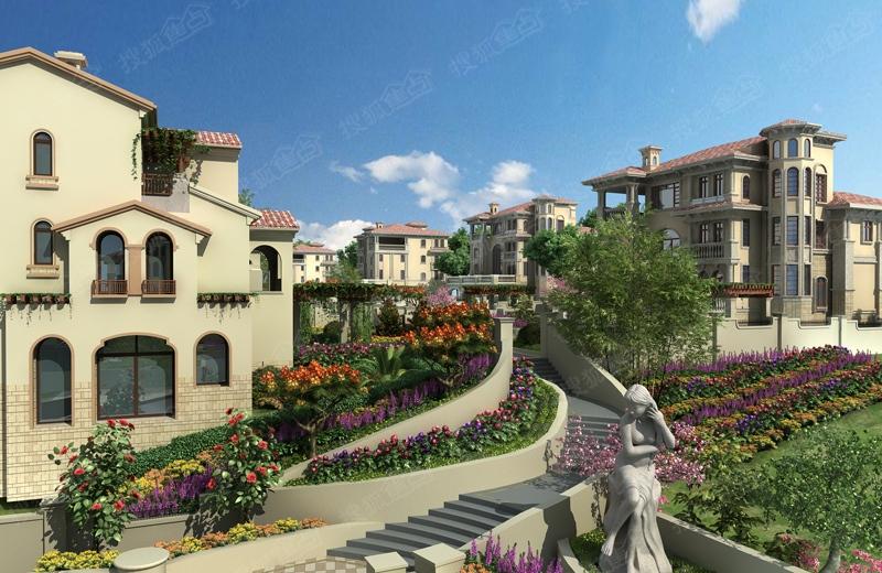 中海玫瑰庭院效果图-小区坡地