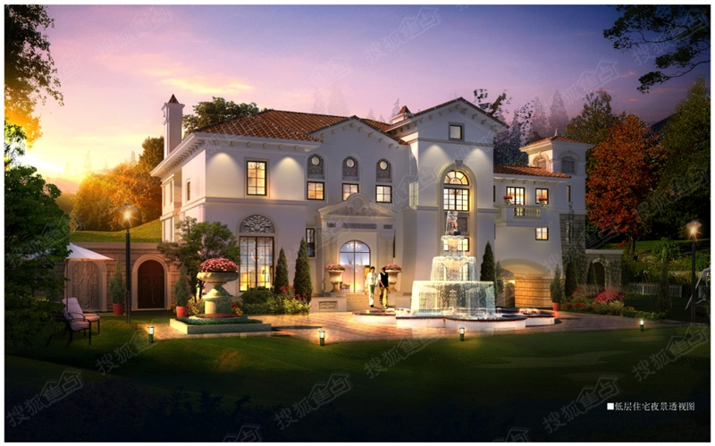 中海玫瑰庭院效果图 低层住宅夜景透视图