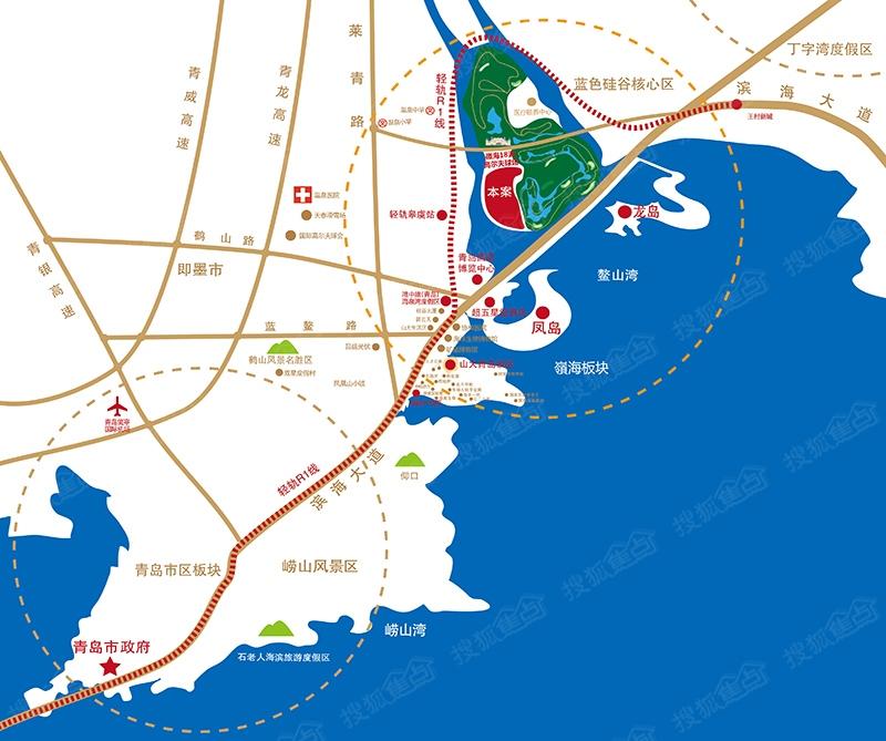 融创青岛湾海墅楼盘交通图