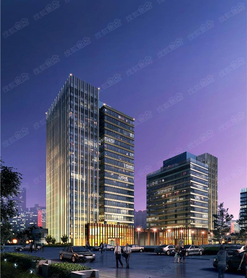青岛国际啤酒城t7,t8办公楼南侧夜景效果图