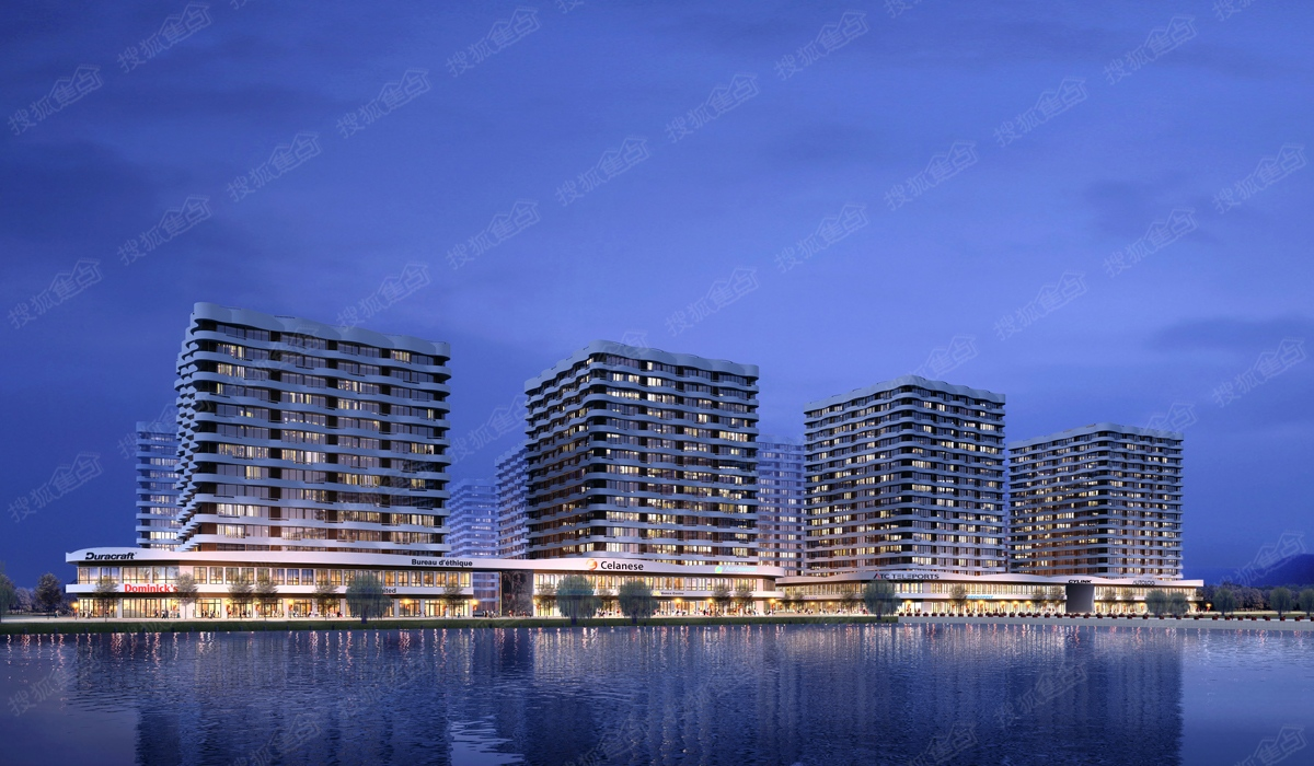 万达·青岛东方影都沿海公寓夜景效果图