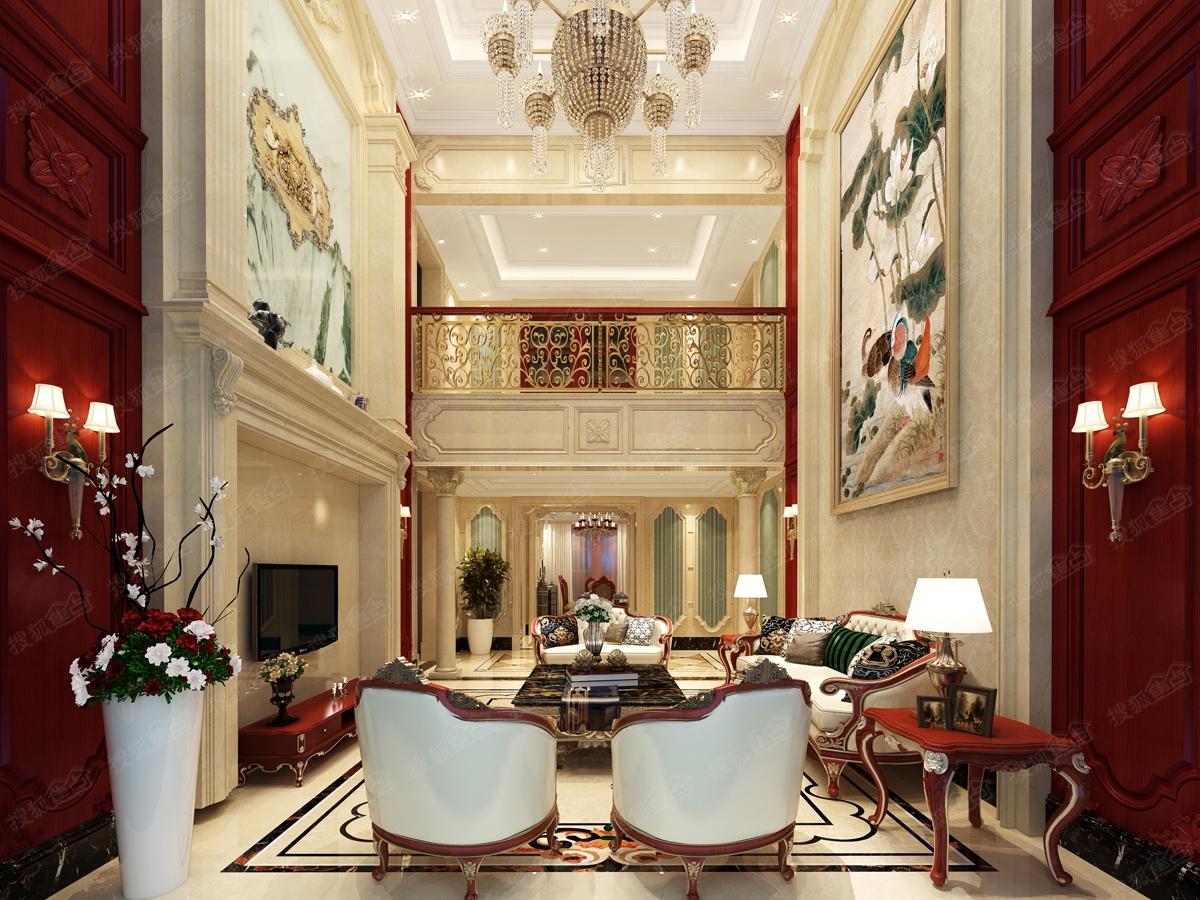 大明翰泽苑10#楼顶层装修效果图--欧式红色客厅