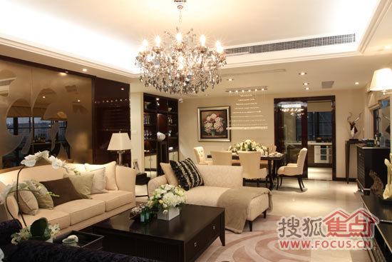 绍兴香滨半岛240平米精装修样板房——客厅