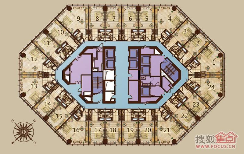 世茂天际中心橡树公馆户型图-0室0厅0卫