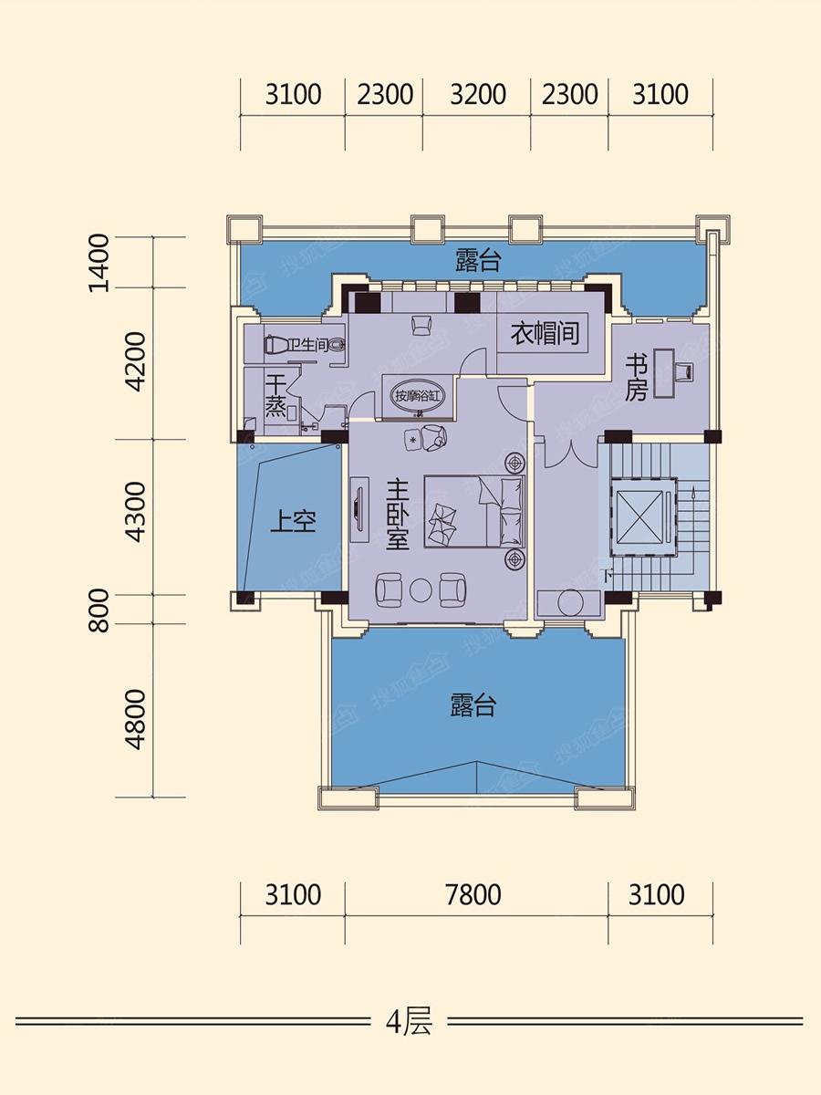 独栋别墅楼层平面图户型