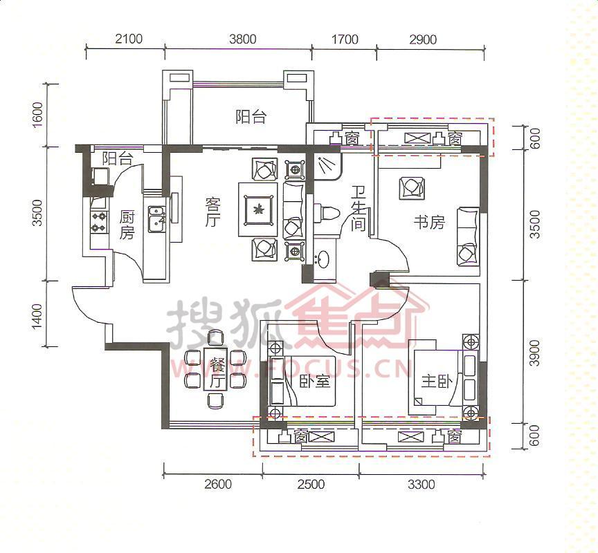 信德半岛三居室b2_信德半岛户型图-芜湖搜狐焦点网