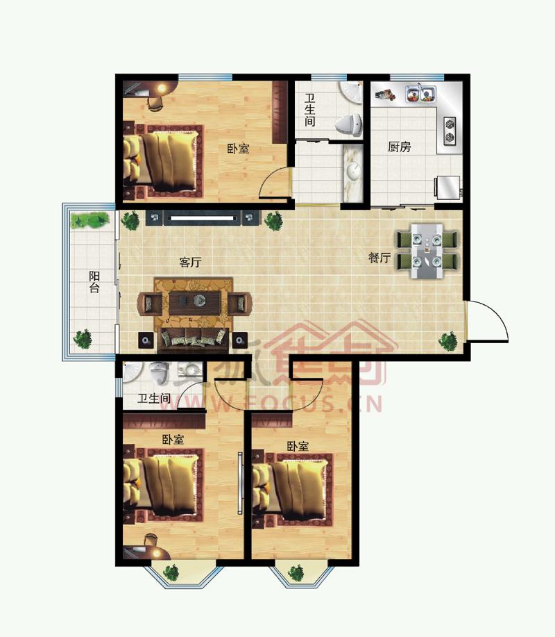 龙泊桂园三室两厅两卫-143.27平米户型